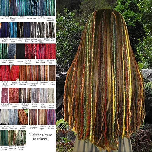 p-in Dreadlocks Set of 5 or 6 dreads clips 100-144 single locs 22.5 or 38 inches long Lightweight dreads hair extensions MANY COLORS! ()