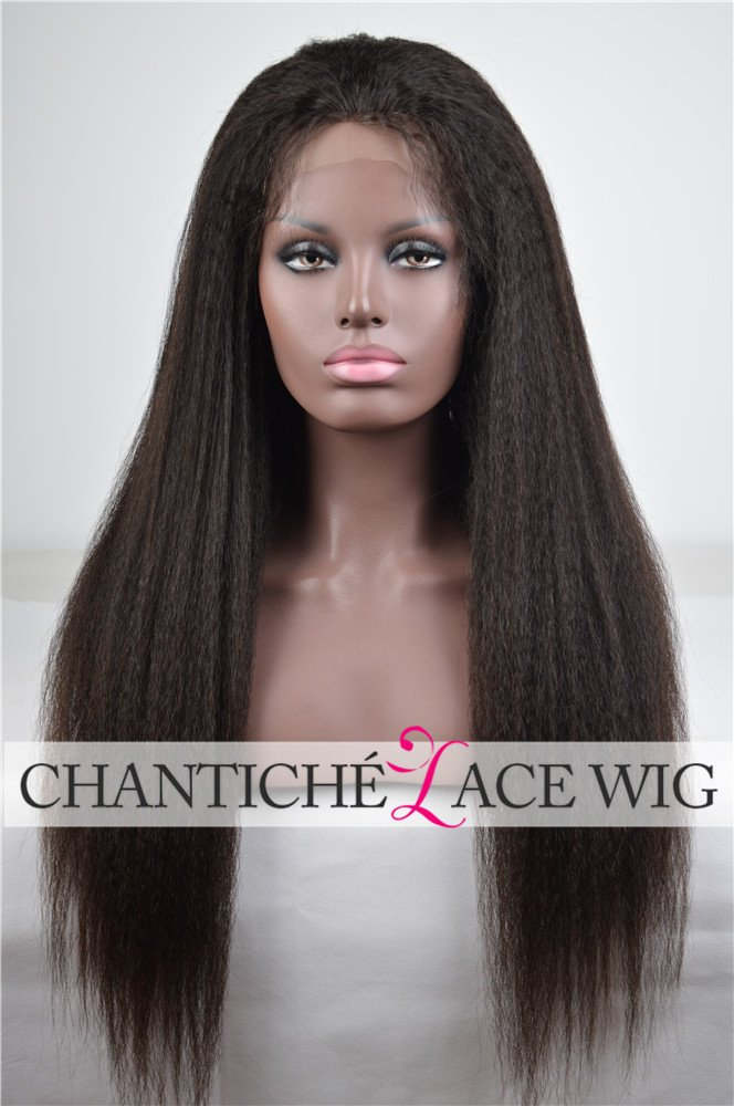 Chantiche Italian Yaki 4x4'' Silk Top Human Hair Lace Front Wigs with Baby Hair for Black Women Glueless Brazilian Best Remy Human Hair Wig Invisible Parting 130 Density 16 Inches Natural Color