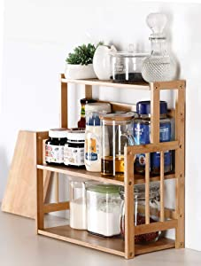 Bamboo Spice Rack Storage Shelves-3 tier Standing pantry Shelf for kitchen counter storage,Bathroom Countertop Storage Organizer Desk Bookshelf with Adjustable Shelf Cabinet