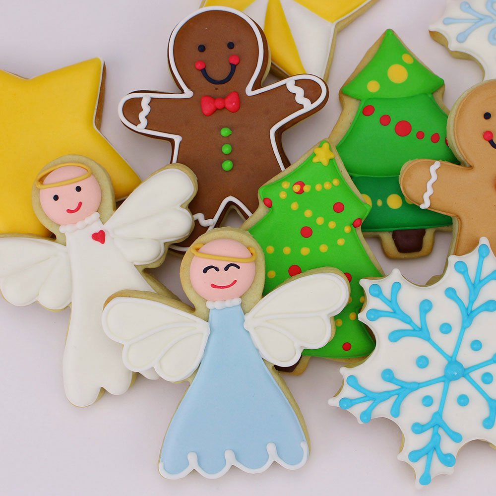 Christmas / Holiday Cookie Cutter Set - 5 Piece - Snowflake, Star, Christmas Tree, Gingerbread Man and Angel - Ann Clark Cookie Cutters - US Tin Plated Steel by Ann Clark Cookie Cutters (Image #3)