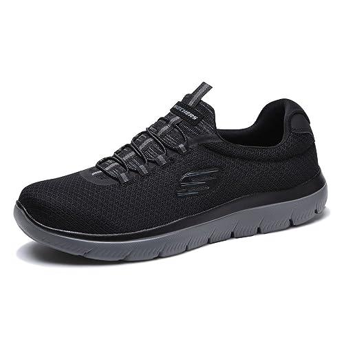 2018 Black Noir Skechers Homme Baskets Basses Chaussures