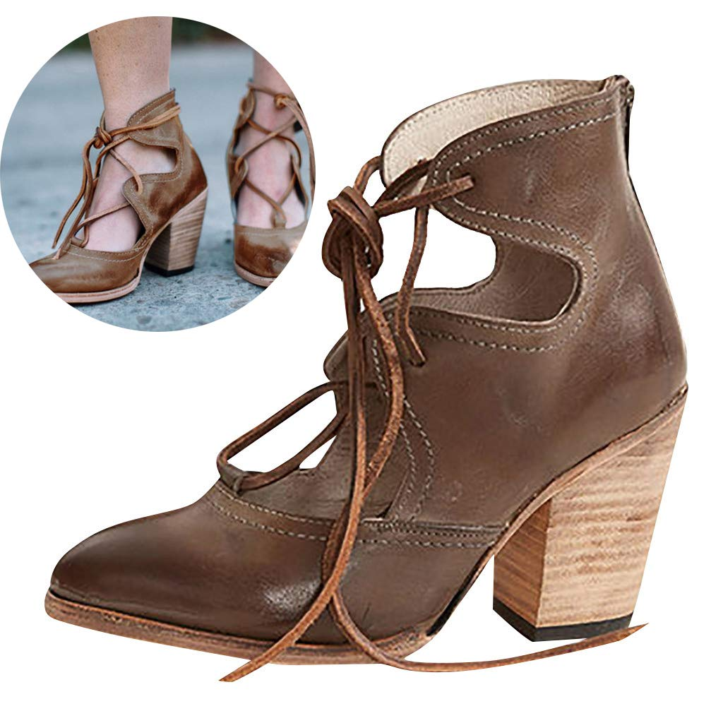 Clearance! Swiusd Women's Lace Up Stiletto Oxford Sandals Retro Wood High Heel Sandals Tie Up PU Leather Beach Dress Single Shoes (Brown, 9 M US) by Clearance! Swiusd