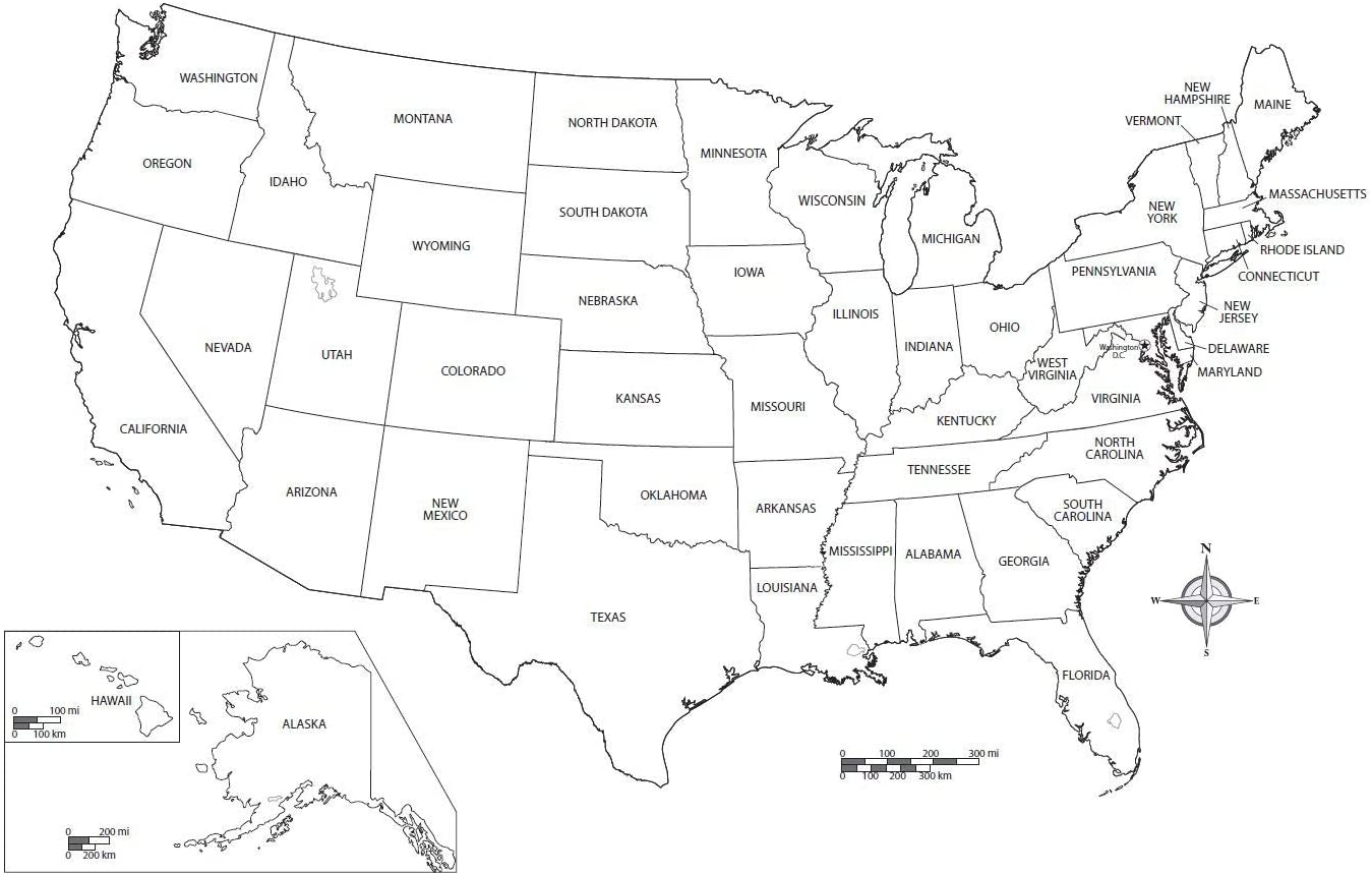 Black And White Usa Map Amazon.com: Home Comforts Map   State City Printable Blank Us Map
