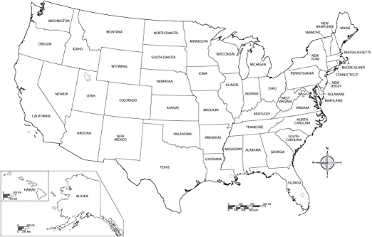 Black And White United States Map Amazon.com: Home Comforts Map   State City Printable Blank Us Map
