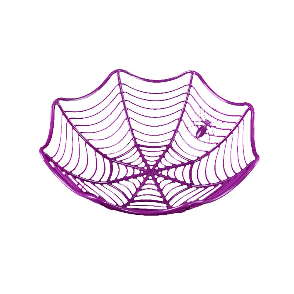 Spider Web Fruit Plate Halloween Decoration Creative Candy Biscuit Fruits Candy Basket Bowl for Halloween Party Decor(Black)