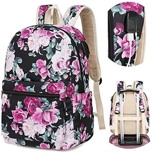 School Girl Rose - Girls School Backpack Travel Laptop Women College School Bag 15.6in USB Daypack Outdoor With Trolley Case Slot (Rose Black-0055)