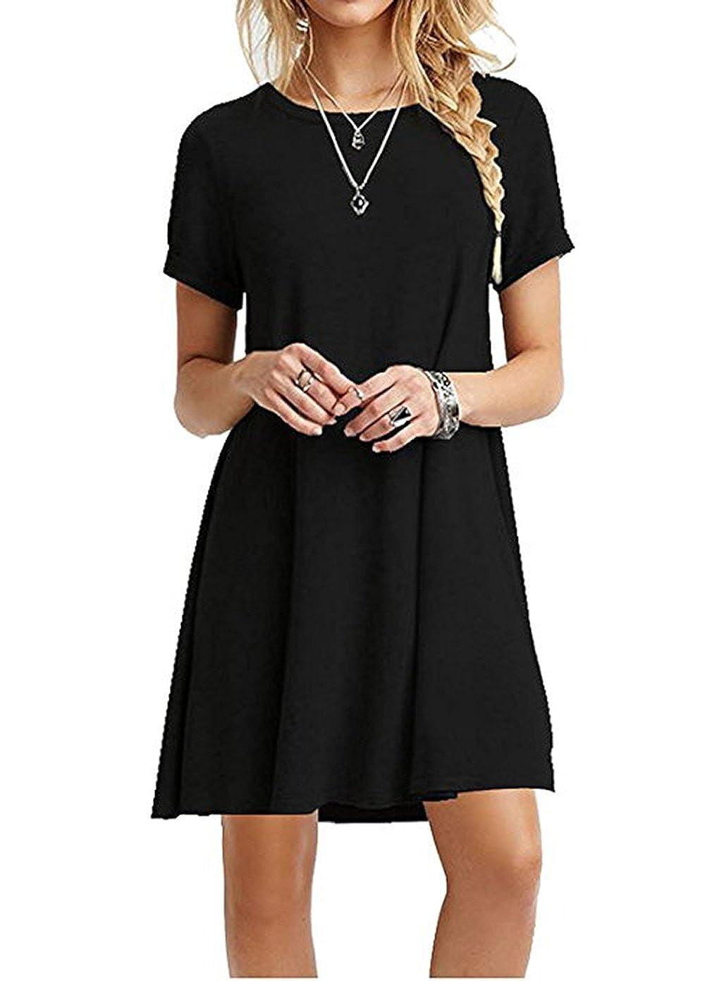 6e5623daa2e WESIDOM Casual Plain Short Sleeve Dress