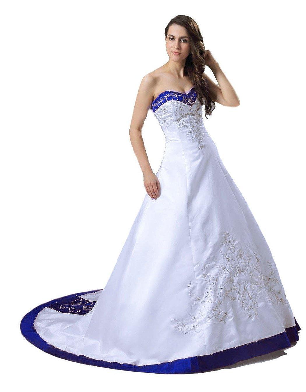RohmBridal Womens Strapless Satin A-line Bridal Wedding Dress