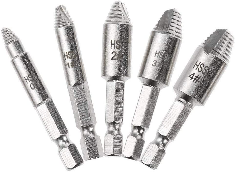 4 IN 1 Titanium Screw Extractor Drill Bits Guide Broken Damaged Bolt Remover