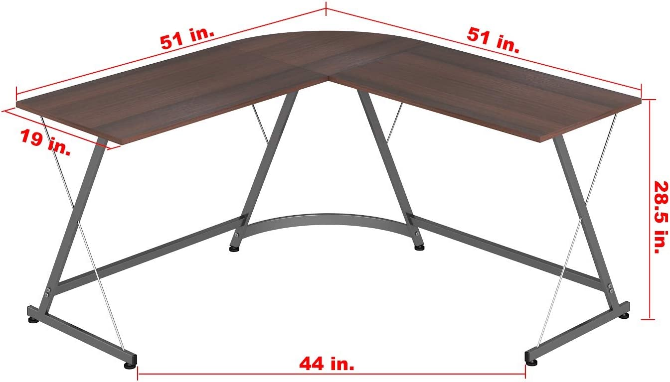 SHW L-Shape Corner Desk Computer Gaming Desk Table, Walnut