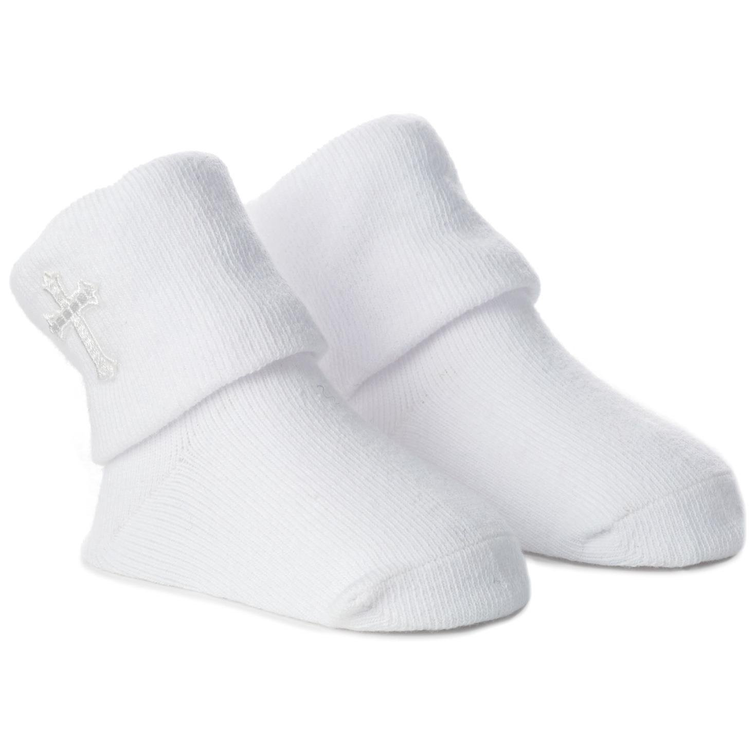 0-12 Months Hallmark Embroidered Cross Baby Socks