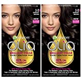 Garnier Hair Color Olia Oil Powered Permanent, 3.0 Darkest Brown, 2 Count