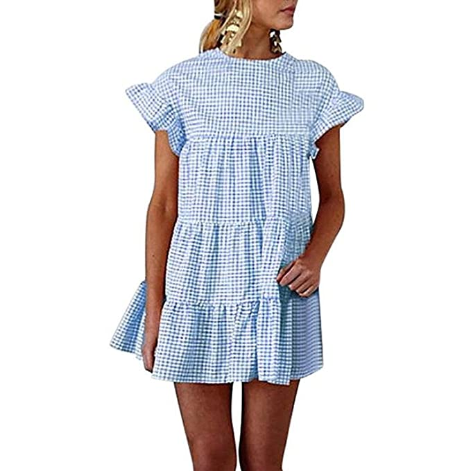 Vestido de Mujer, Lananas 2018 Verano Playa Cuadros Impresos Cuello Redondo Volante Fruncido Plisado Manga Flare Corta Alinear Mini Vestido Mini Dress: ...