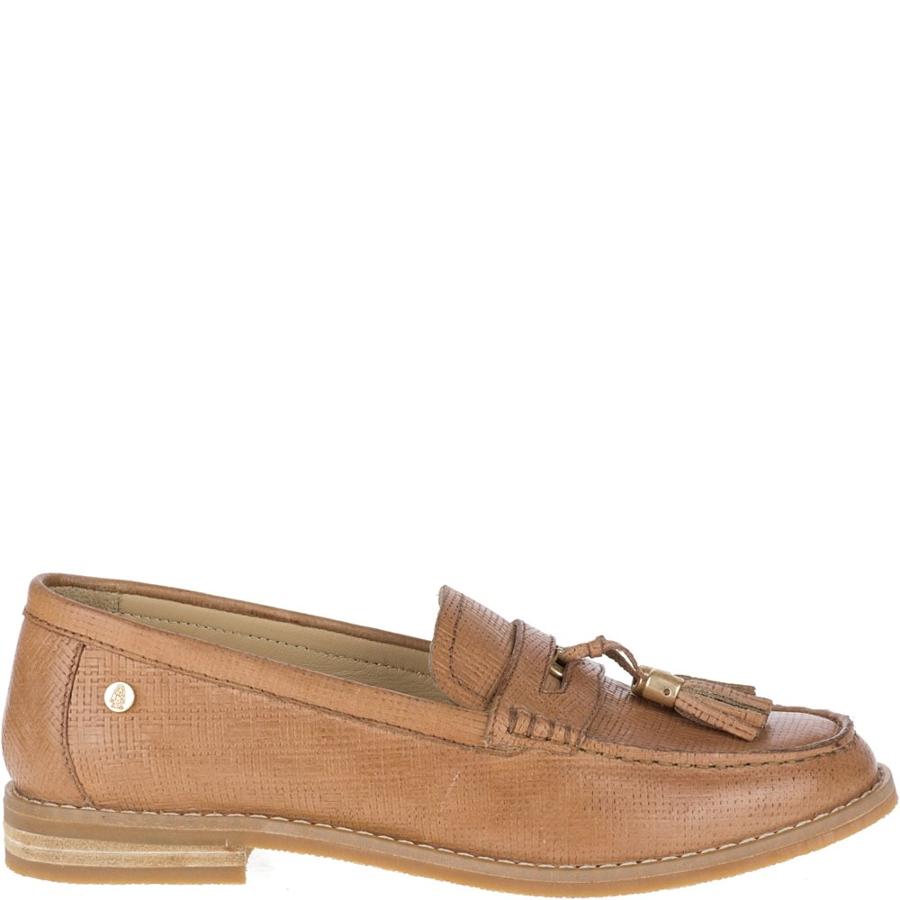 Hush Puppies Women's Chardon Penny Loafer, Natural Embossed Leather, 7 M US