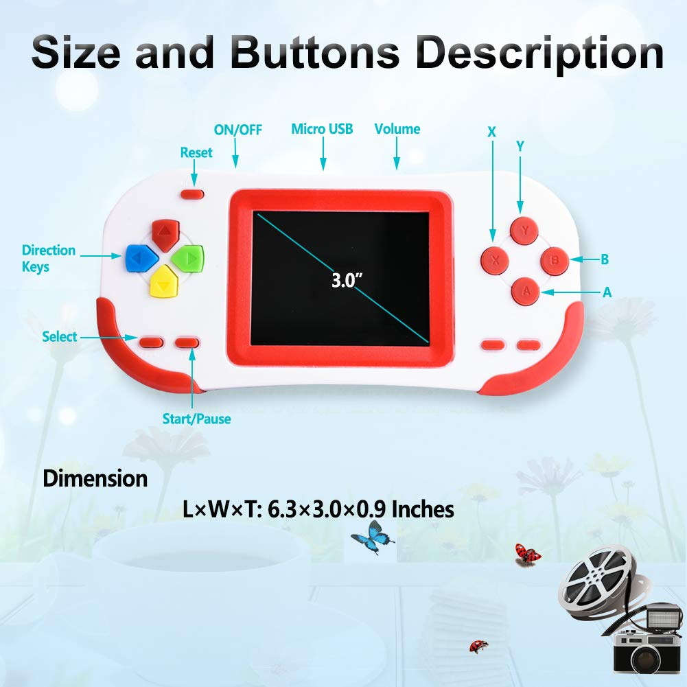 TEBIYOU Handheld Game Console for Adults Kids Seniors with Built in 16 Bit 220 HD Classic Games 3.0'' Large Screen Portable Retro Game Player Children Electronic Handheld Games (Red) by TEBIYOU (Image #5)