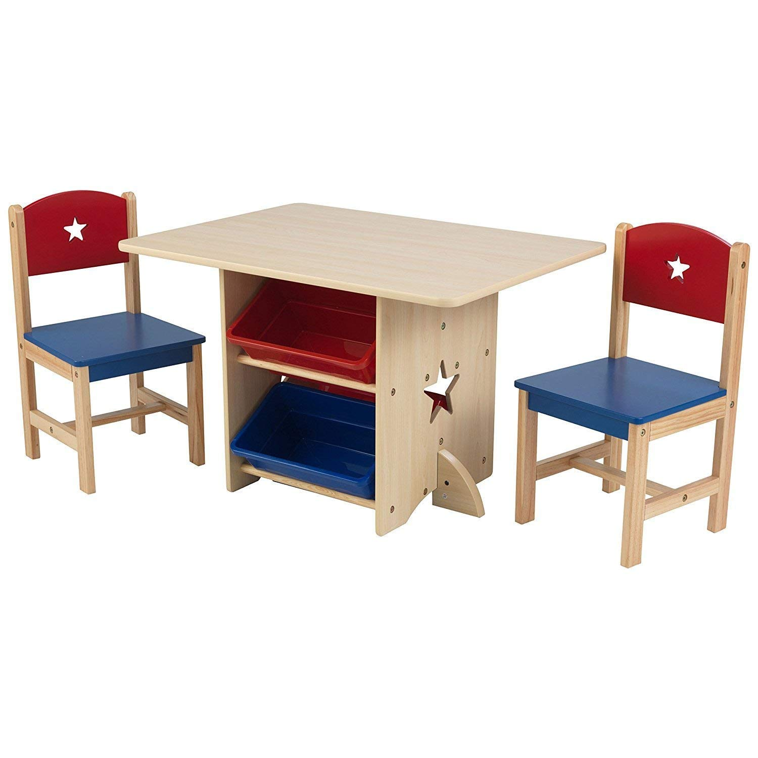 Children's Wooden Star Design Nursery Play Table and Chair Set Table and 2 Chair Set with 4 Storage Boxes … SmashingDealsDirect