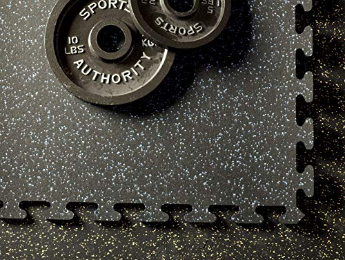 (American Floor Mats Fit-Lock 3/8 Inch Heavy Duty Rubber Flooring - Interlocking Rubber Tiles (24