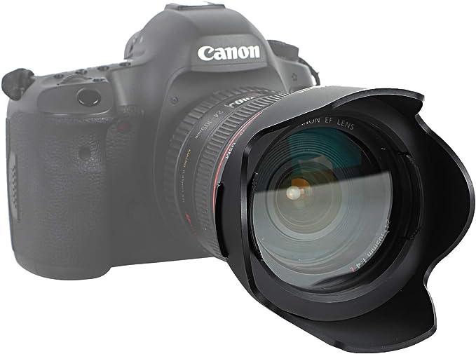 52mm Easy Hood 52mm Lens Hood Set Universal Snap-on Reversible Len Hood with Center Pinch Lens Cap for Canon Nikon Sony Fuji Olympus Panasonic Pentax 18-135mm EF-S Lens