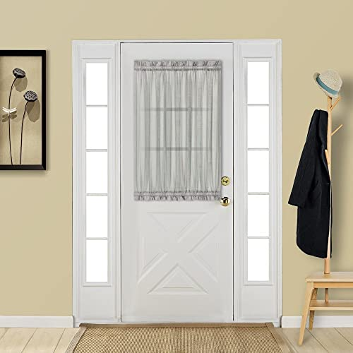 Aquazolax Glass Door Panel Window Curtain Elegant Solid W25 X L40 Rod  Pocket Sheer Curtain For