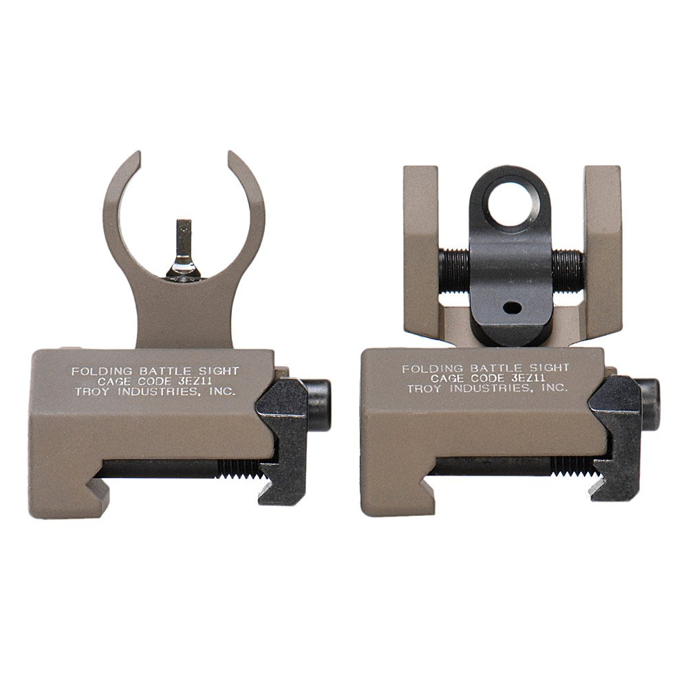 Troy Industries Micro HK Style Front and Rear Folding Battle Sight (Flat Dark Earth) by Troy Industries