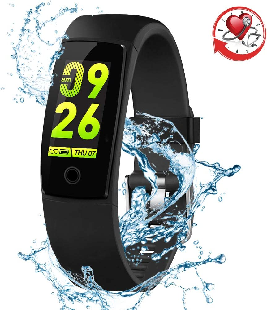 SYNERKY Blood Pressure Watch Fitness Tracker Waterproof Color Screen Sport Smart Bracelet Band Activity Monitor with Heart Rate Calories Pedometer Sleeping Tracking Call SMS Reminder