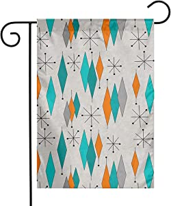 Home Garden Flag Banner Welcome Hello Mid Century Modern Spring Summer Vertical Yard Flags for Seasonal Outdoor Patio Lawn Decorative