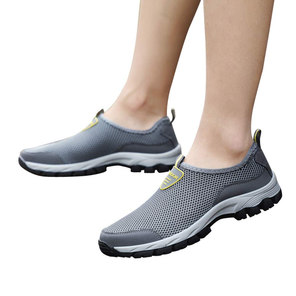 Farjing Men Outdoor Mesh Shoes Casual Slip On Comfortable Running Mountaineering shoes(US:10.5,Gray)