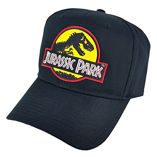 d7659dfae2c Jurassic Park Movie Logo Yellow Patch Baseball Adjustable Black Cap ...