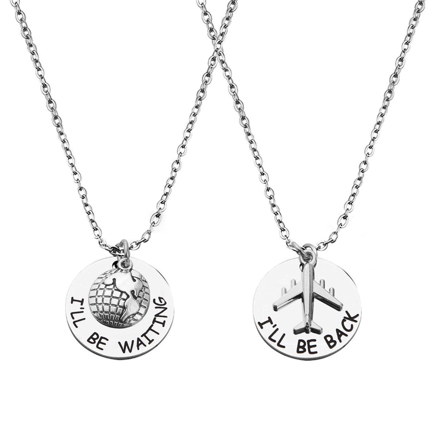 MAOFAED Long Distance Couples Gift Friendship Gift I'll Be Back I'll Be Waiting LDRSHIP Necklace Sets for 2 (I'll be back necklace set)