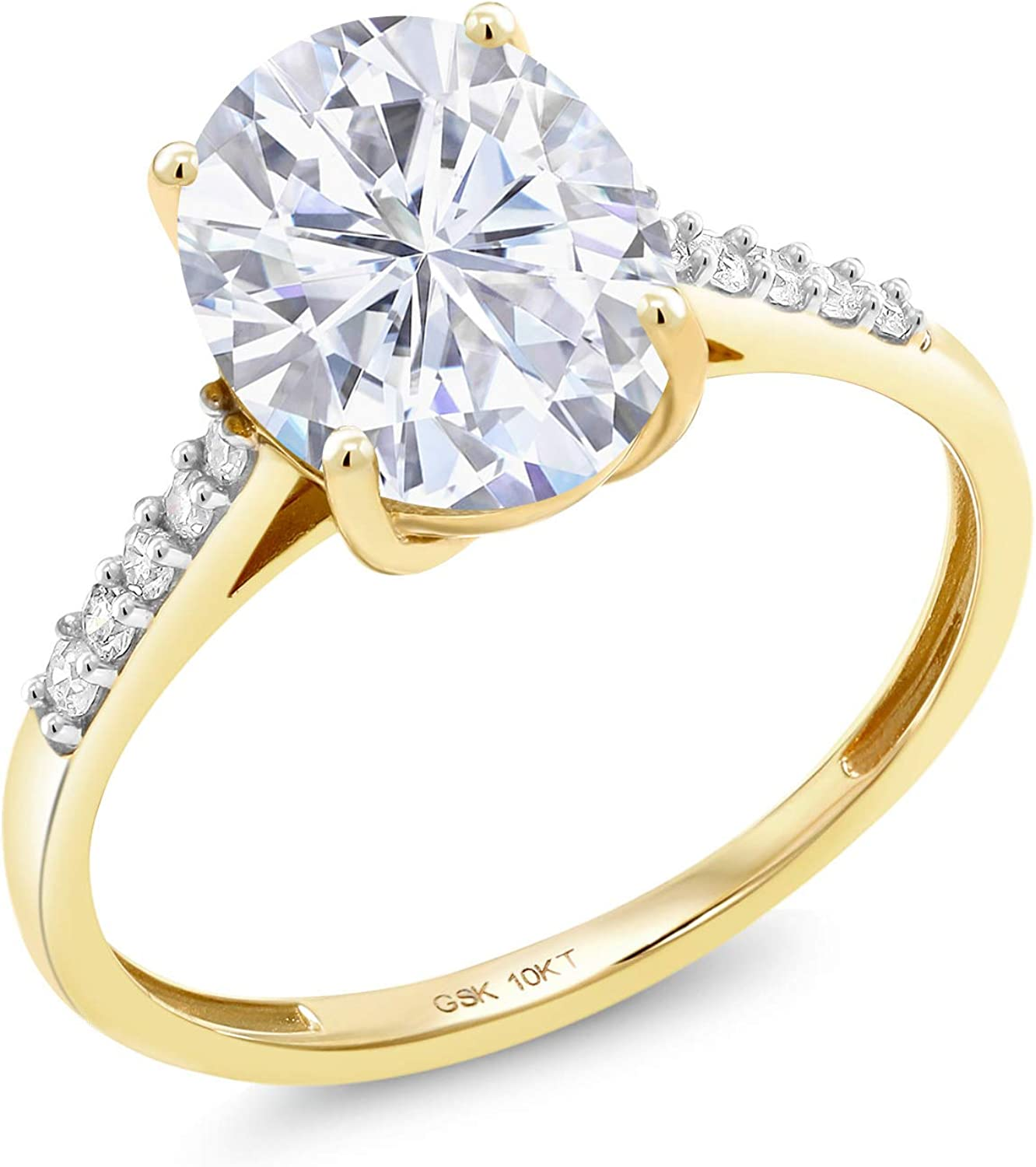 10K Yellow Gold Created Moissanite by Charles & Colvard and Diamond Women Solitaire Engagement Ring (3.00 Cttw, Available in size 5, 6, 7, 8, 9)