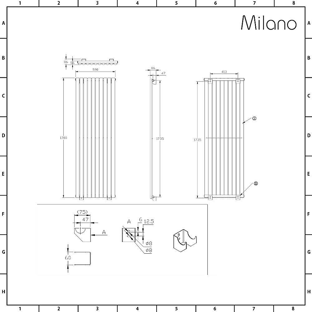 Milano Radiador de Dise/ño Revive Vertical 1600 x 354mm 841W Antracita