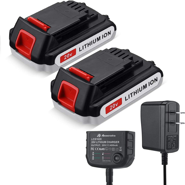 Powerextra 2 Pack LBXR20 Battery 3.0Ah Replace for Black and Decker 20V MAX + 20V Charger for Black Decker 20V MAX 20V