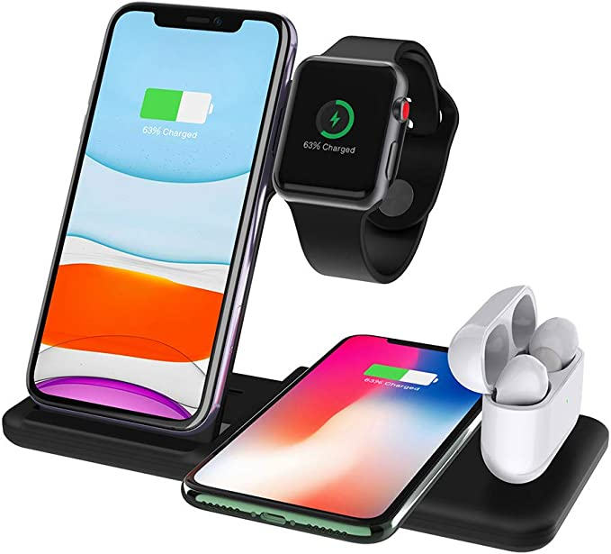 FDGAO Wireless Charger 4 in 1, 15W Fast Wireless Charger Station Charging for Apple Watch Airpods iPhone 1111proXXSXRXs Max88 Plus, Qi Wireless