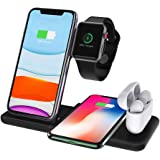 Wireless Charger Stand, DOSHIN 15W Fast Wireless Charge Station 4 in 1 Charging for Apple Watch Airpods iPhone 11/11pro/X/XS/XR/Xs Max/8/8 Plus, Qi Wireless Charger for Samsung Galaxy Note and More