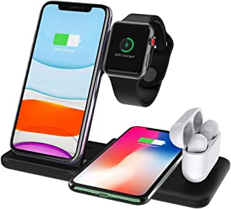 Wireless Charger for iWatch/Airpods/iPhone,15W Wireless Charger Stand for iPhone 11 Pro/XR/XS Max/X/8 Plus,Galaxy S10/S9/Note 10, Wireless Charger Pad for Airpods Pro/2,Galaxy Buds (No AC Adapter)