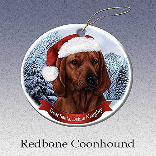 Holiday Pet Gifts Redbone Coonhound Santa Hat Dog Porcelain Christmas Tree Ornament (Coonhound Ornament)