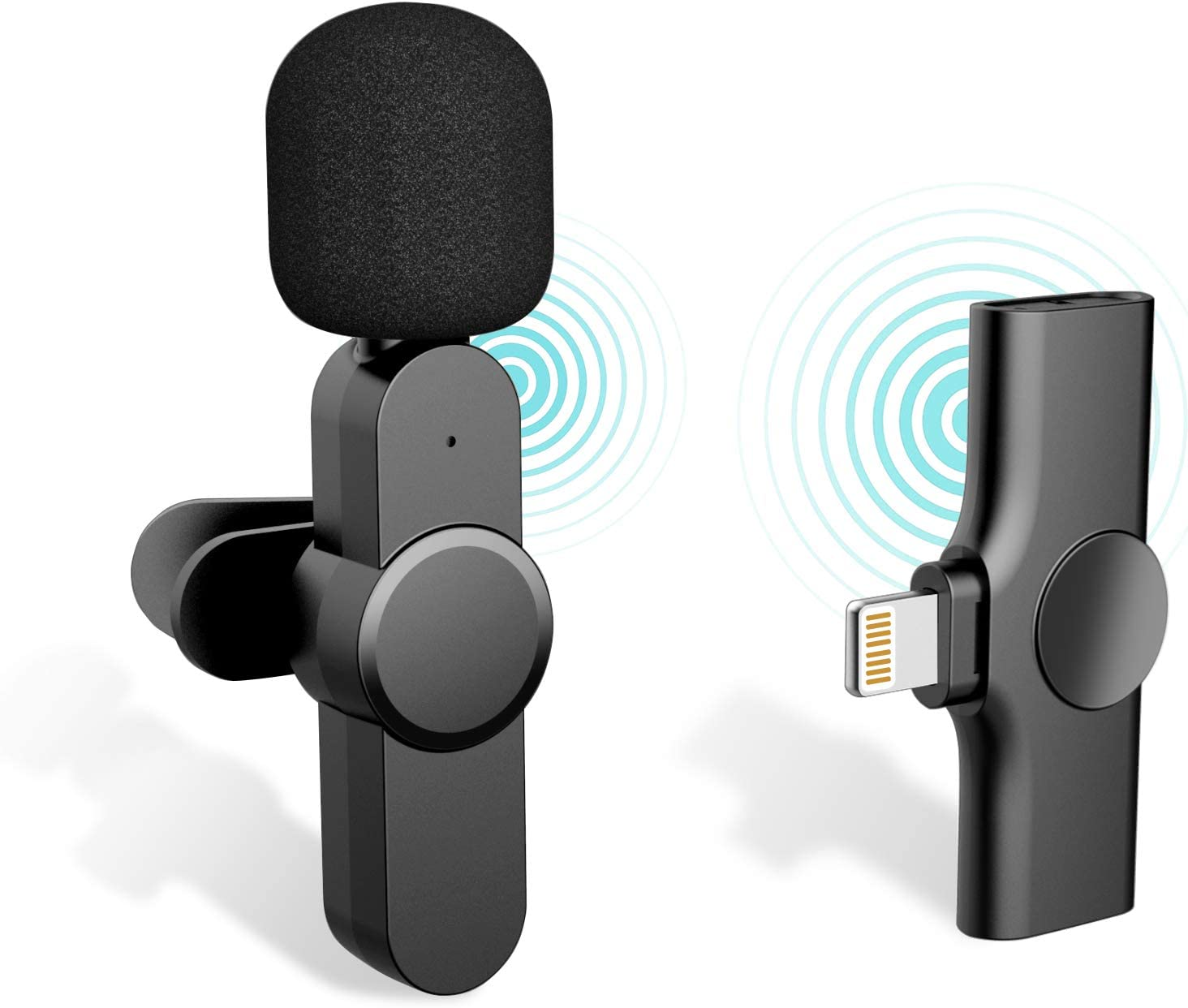 Plug-Play iPhone Lapel Microphone for Youtubers,Facebook Live Stream,iDiskk Lightning Wireless Mic for iPhone iPad,Auto-syncs Mic for Vloggers,Interview (NO APP or Bluetooth Needed)