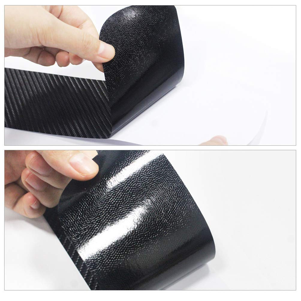 Maiqiken 4 Pezzi Auto Porta davanzale Adesivo Passo Decorazione Decalcomania della Copertura per 307 3D Bianco in Fibra di Carbonio Stile
