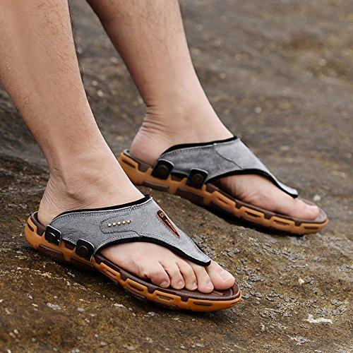 Dayiss Herren Zehentrenner Flip-Flops Leder Pantoletten Hausschuhe Badeschuhe Beach Sandalen Grau