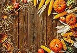 OFILA Autumn Harvest Backdrop 7x5ft Thanksgiving Day Photography Background Harvest Season Pumpkins Corns Straw Apples Rural Farm Background Digital Video Studio Props