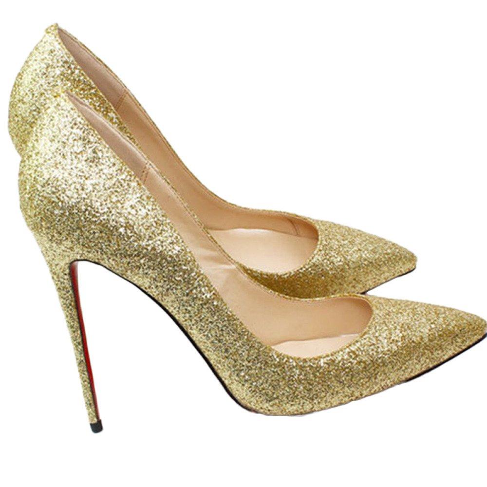 Snfgoij Damen Stiletto High High Stiletto Heel Wies Court Schuhe Arbeiten Schuhe Clubbing Large Größe Flash Flacher Mund 12 cm Pumpen Gold 5e908e