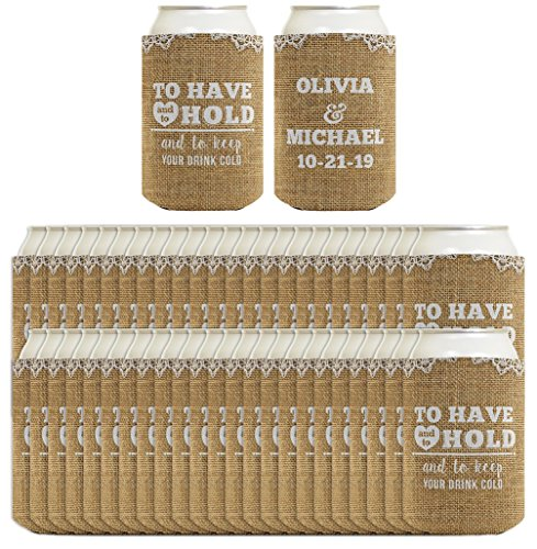 To Have and to Hold Custom Name Wedding Coolie 48-pack Custom Can Coolie Coolies Simulated Burlap (Wedding Koozies To Have And To Hold)