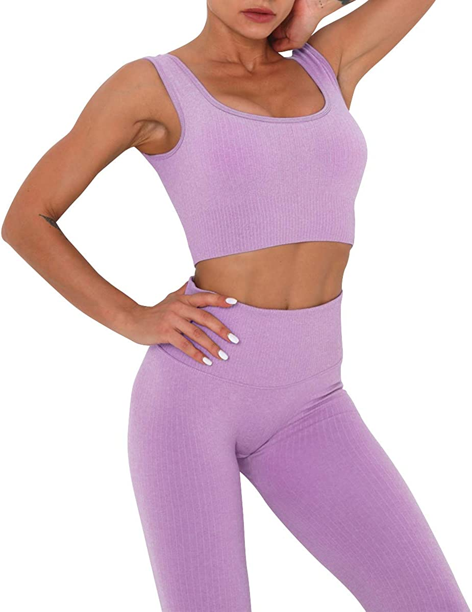 BOTRE V/êtement de Sport Femme 5 Pi/èces Ensembles Costumes de Sport Gym Yoga