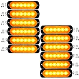 Amber/White 18W 6-LED Warning Emergency Flashing Strobe L...