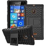 Heartly Flip Kick Stand Spider Hard Dual Rugged Armor Hybrid Bumper Back Case Cover For Microsoft Lumia 532 Dual SIM - Rugged Black