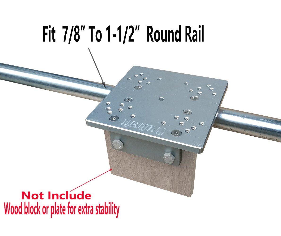 Brocraft Aluminum Universal Square/Round Rail Downrigger Mount