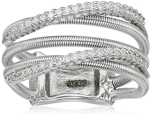 14k Shared Prong - 14k White Gold Shared 4-Prong 2 Curved Diamond Row 3 Fancy Wire Rows Fashion Ring (1/3cttw, I-J Color, SI2-I1 Clarity), Size 7