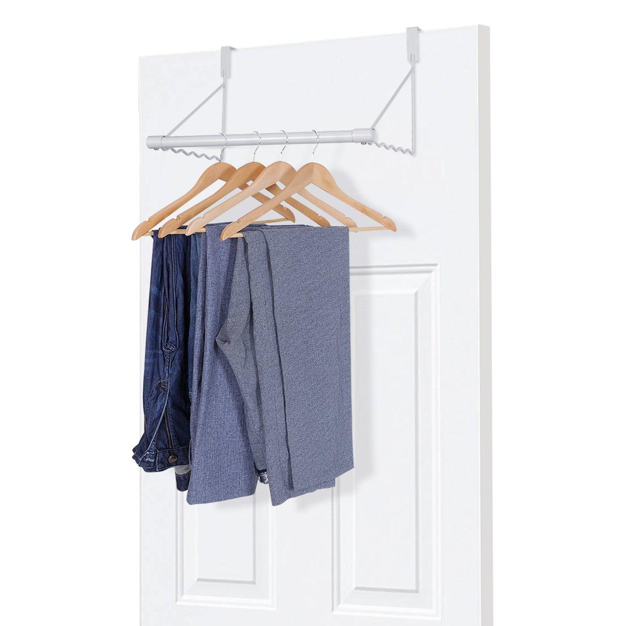 MaidMAX Metal Over The Door Closet Rod Bracket for Clothes Rack Hanger, White