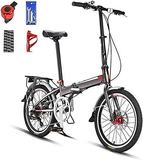 XHLLX 20 Pulgadas Peso Ligero Plegable De MTB, Plegable Ciudad De Cercanías Bicicletas, 7 Velocidad Hombres De Bicicletas De Montaña para Mujer, Doble Disco De Freno,A: Amazon.es: Hogar