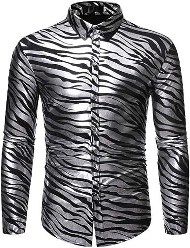 Camisa de Manga Larga para Hombres Camisa de Club Nocturno ...